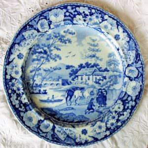 Blue and White Native Plate William Adams