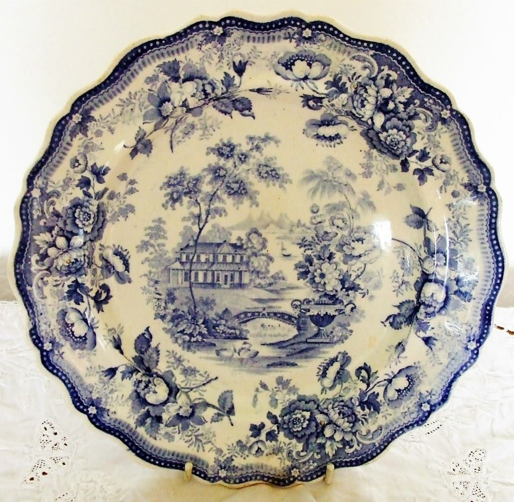 Blue and White Royal Cottage Plate Barker and Till