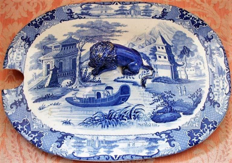 Blue and White Canton River Scene Tureen Cover Robert Hamilton