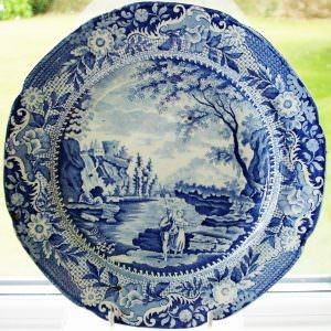Blue and White Castle Of Rochefort Plate Brameld & Co