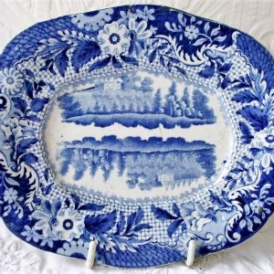 Blue and White Castle Of Rochefort Sauce Tureen Stand Brameld & Co