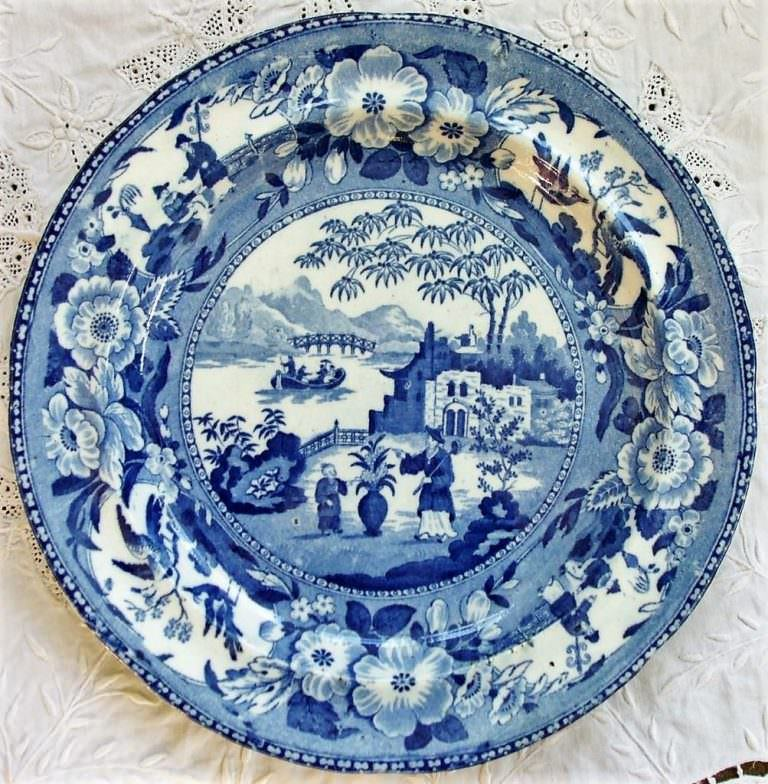 Blue and White Chinese Flowering Pot Plate