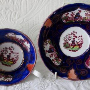 Gaudy Welsh Chinoiserie Teacup And Saucer