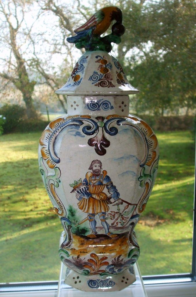 Dutch Delftware Vase and Cover