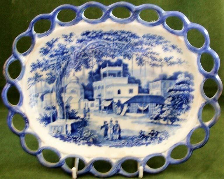 Blue and White Eastern Street Scene Dish Riley