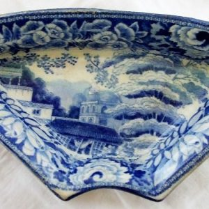 Blue and White Eastern Street Scene Supper Dish Riley