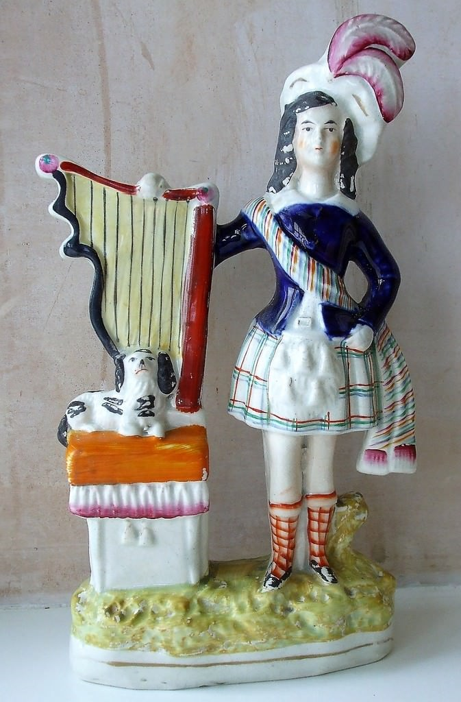 Staffordshire Figure Highland Boy with Dog and Harp H 1572