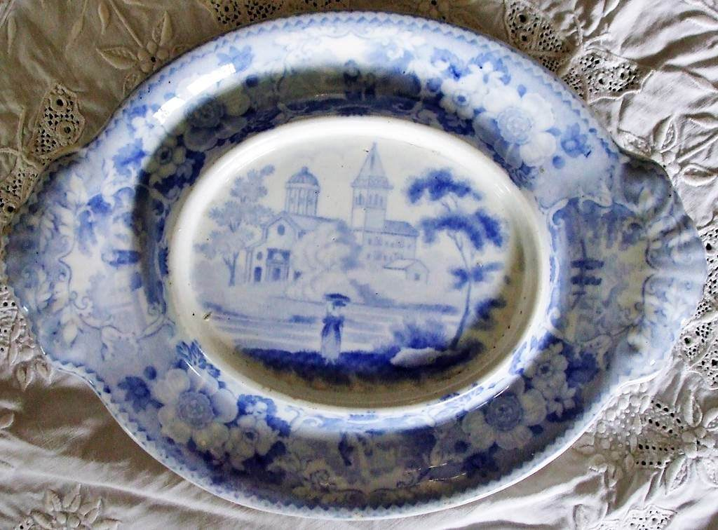 Blue and White Italian Scenery Sauce Tureen Stand John Meir and Son