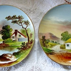 Pair of Pastoral Pottery Plates