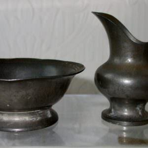 Miniature Pewter Ewer And Basin