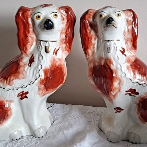 Pair B and W Staffordshire Spaniels H 2454 H 2455