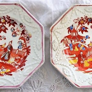 Pair Chinoiserie Octagonal Plates