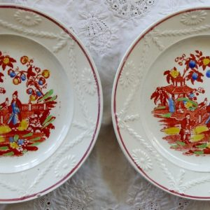 Pair of Chinoiserie Pottery Tea Plates