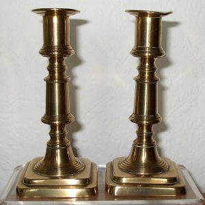 Pair of Late Georgian Brass Candlesticks