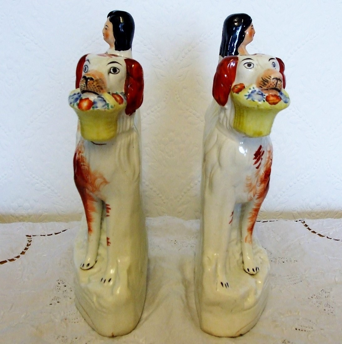 Pair of Staffordshire Figures Children with Dogs H 2235 H 2236