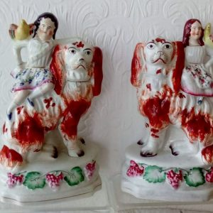 Pair of Staffordshire Figures Children with Spaniels H 2223 H 2224