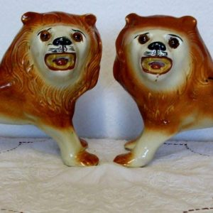 Pair of Staffordshire Lions H 4655 H 4656