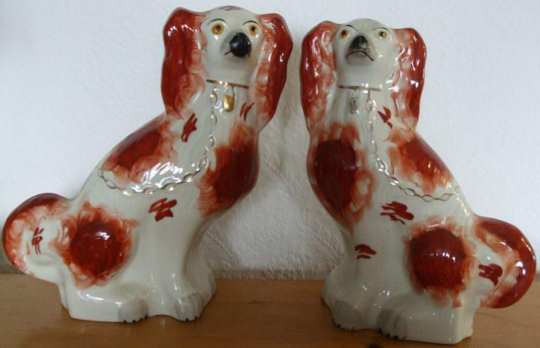Pair of Staffordshire Spaniels H 2454 H 2455