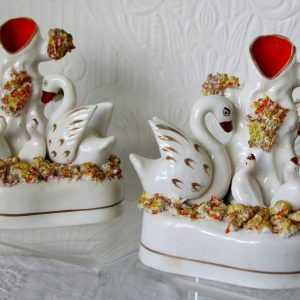 Pair of Staffordshire Swan Spill Vases H a2832A