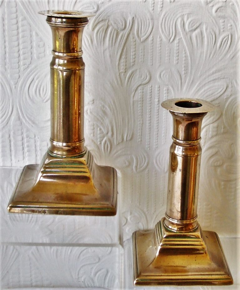 Pair of Telescopic Brass Candlesticks WS Patent