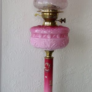 Pink Glass Column Lamp