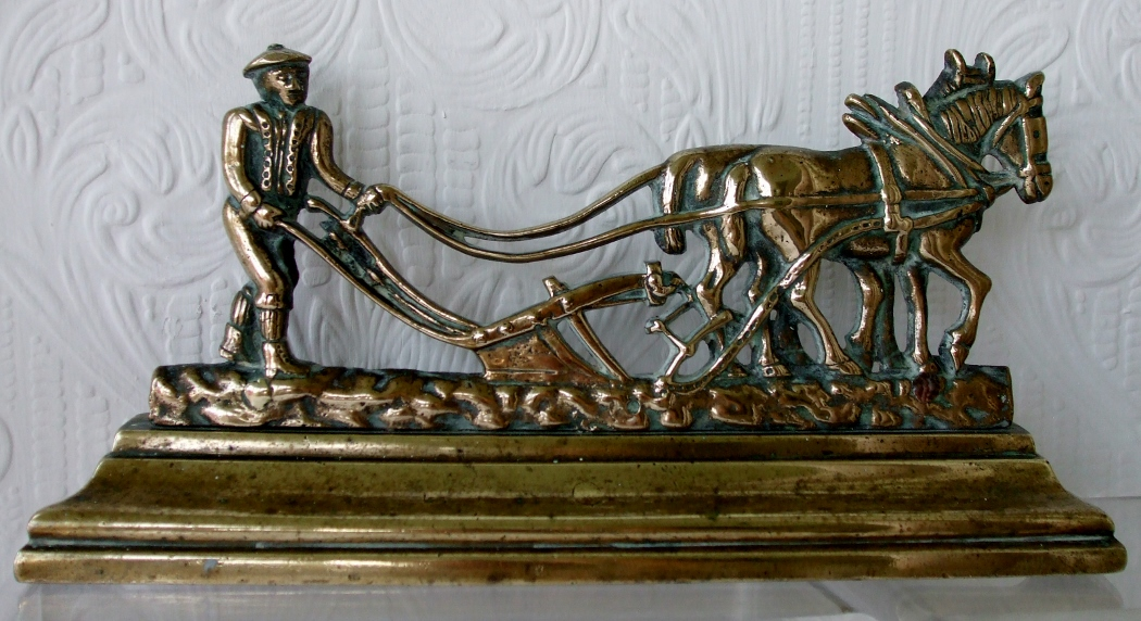 Ploughman Brass Chimney Ornament