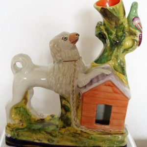 Staffordshire Figure Poodle and Kennel H 2743