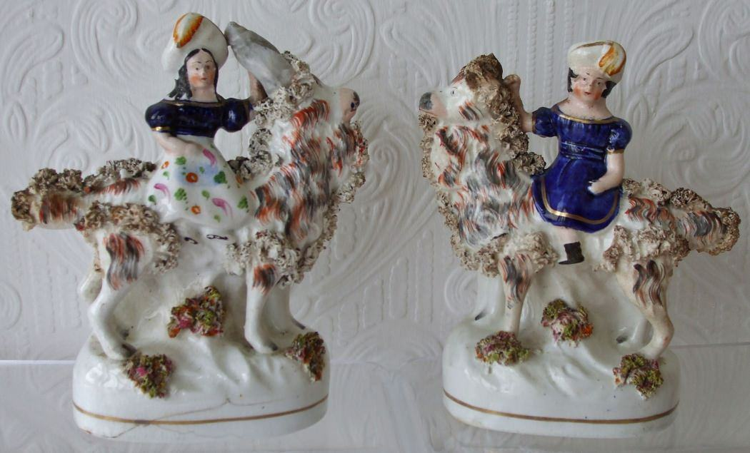 Pair of Staffordshire Figures Prince of Wales H 598 and Princess Royal H 599 on Goats