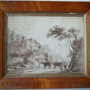 Framed Sepia wash Sidmouth Devon