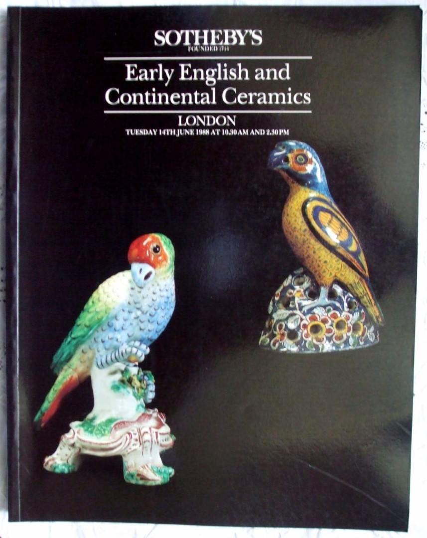 Sothebys Early English And Continental Ceramics 14 June 1988