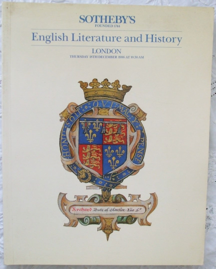 Sothebys English Literature And History 18 December 1986