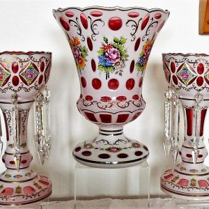Bohemian Overlay Glass Garniture