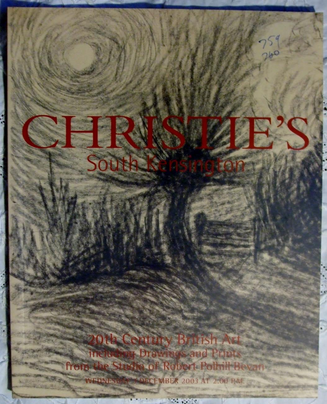 Christies South Kensington 20th Century British Art including Drawings and Prints from the studio of Robert Polhill Bevan 03 December 2003