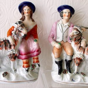 Pair of Staffordshire Figures Children With Goats