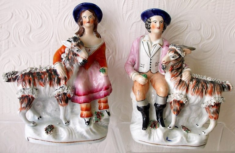 Pair of Staffordshire Figures Children With Goats H 2347A H 2347B