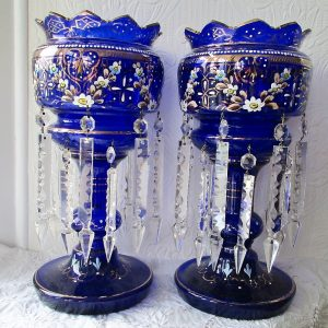 Pair of Blue Glass Lustres