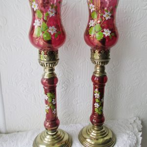 Pair of Cherry Red Candle Lamps
