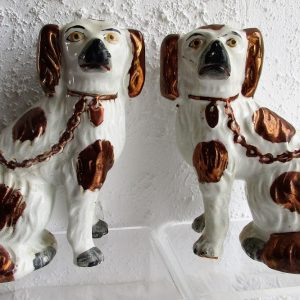 Pair of Staffordshire Copper Lustre Spaniels H 2477A H 2477B