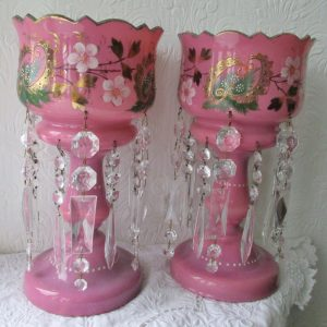 Pair of Pink Glass Lustres