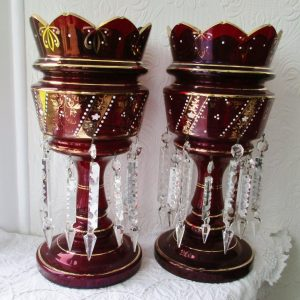 Pair of Ruby Glass Lustres