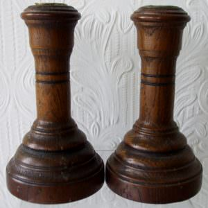 Pair Turned Oak Candlesticks