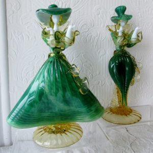 Pair of Venetian Glass Figurines