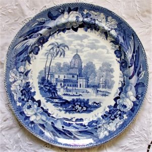 Blue and White Parrot Border Series Plate Surseya Ghaut Khanpore