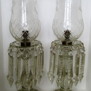 Pair of Clear Glass Candle Lustres