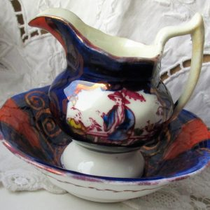 Gaudy Welsh Chinoiserie Miniature Ewer And Basin