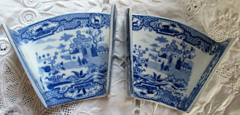 Pair of Blue & White Transfer Asparagus Servers
