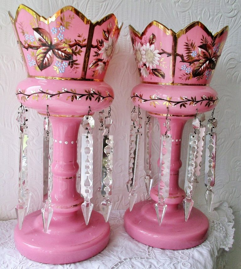 Pair of English Victorian Pink Glass Lustres