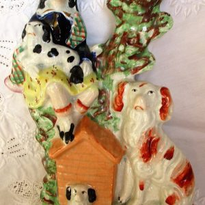 Staffordshire Spill Vase Boy with Kennel and Dogs H 2242H