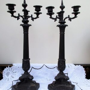 Pair French Bronze Candelabra