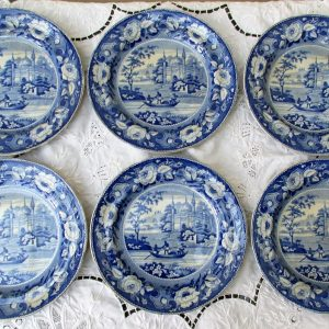 Set of Six Davenport Mosque and Fishermen Plates